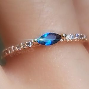 Rose Gold Tiny Blue Sapphire Marquise Dainty Ring